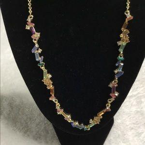 INC Rainbow Baguette Cross Necklace
